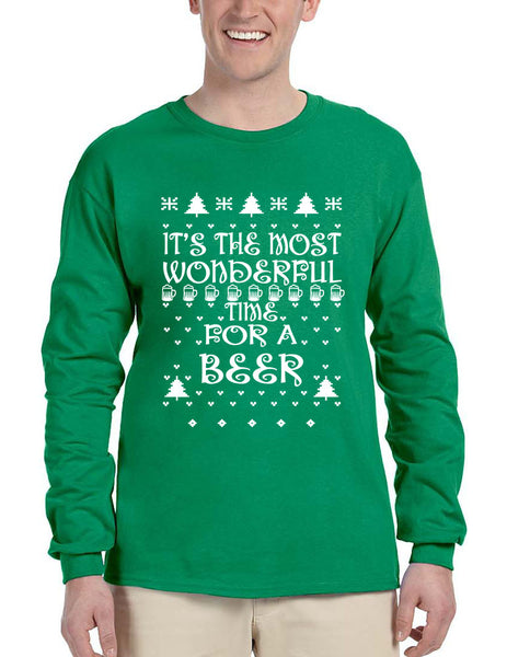 Men's Long Sleeve It's Most Wonderful Time for Beer Ugly Sweater - ALLNTRENDSHOP - 1
