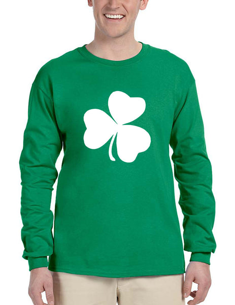 Men's Long Sleeve White Shamrock Graphic St Patrick's Day Party - ALLNTRENDSHOP - 1