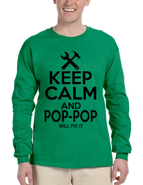 Men's Long Sleeve Keep Calm Pop Pop Will Fix It Grandpa Holiday Tee - ALLNTRENDSHOP - 4