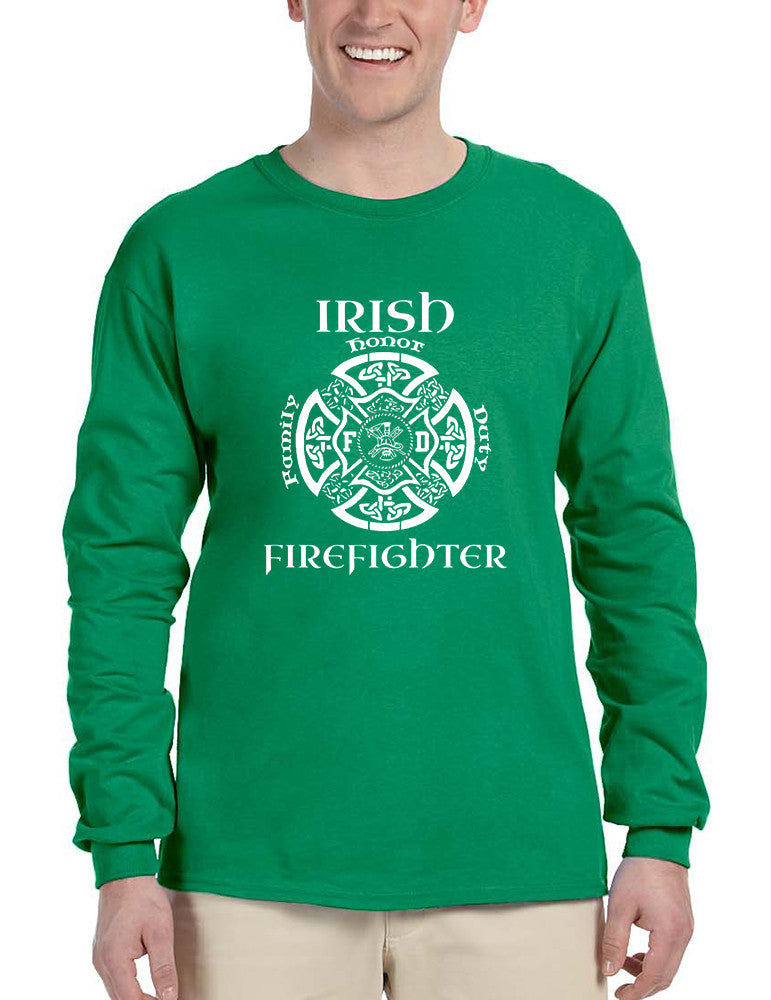 Men's Long Sleeve Irish Firefighter St Patrick's Patry Irish Tee - ALLNTRENDSHOP - 1