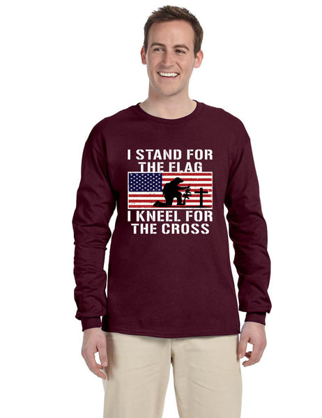 Men's Long Sleeve Stand For The Flag Kneel For The Cross Christian