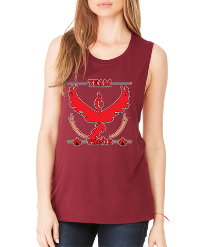 Women's Flowy Muscle Top Team Valor Red Team Top - ALLNTRENDSHOP - 1