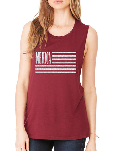 Women's Flowy Muscle Merica Glitter White Flag USA Top
