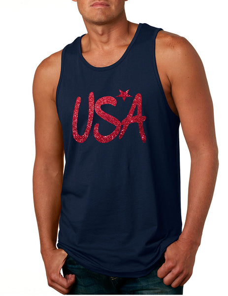 Men's Tank Top USA Red Glitter Love America 4th Of July Top