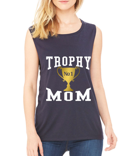 Women's Flowy Muscle Top Trophy Mom Gift Love Mother's Day Top - ALLNTRENDSHOP - 1