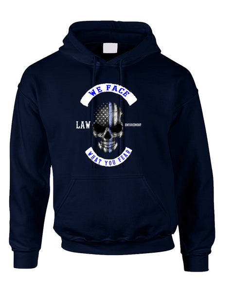 Adult Hoodie We Face What You Fear USA Flag Skull Top