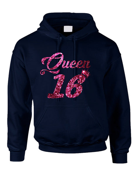 Adult Hoodie Queen 16 Glitter Pink Sweet Sixteen Party Top