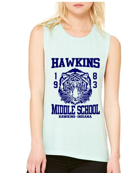 Women's Flowy Muscle Tank Hawkins Middle School 1983 - ALLNTRENDSHOP - 1