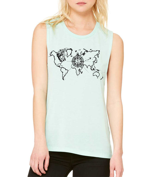 Women's Flowy Muscle Top World Map Compass Cool Tank - ALLNTRENDSHOP - 2