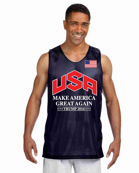 Men's Olympic Mesh Tank TRUMP 2016 Great Again Shirt - ALLNTRENDSHOP - 5