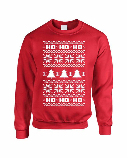 HO HO HO Women's Crewneck Sweatshirt Ugly Christmas Sweater - ALLNTRENDSHOP
