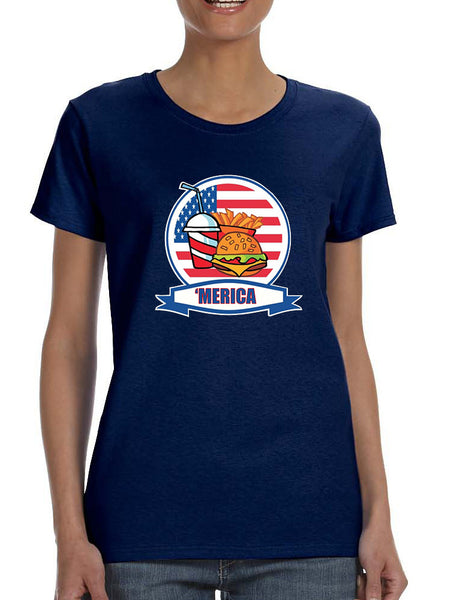 Women's T Shirt Fast Food 'merica Love USA 4th Of July