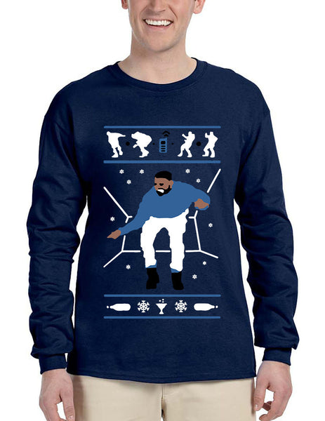 Men's Long Sleeve Hotline Bling Blue 1-800 Hotline Ugly Sweater - ALLNTRENDSHOP - 2