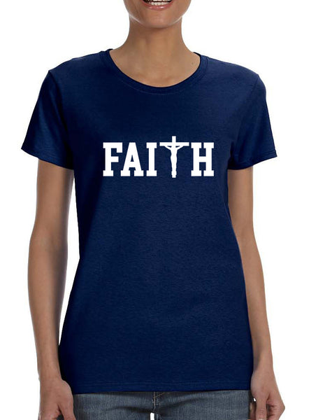 Women's T Shirt Faith Print Cross Love Christian Shirt