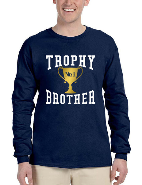 Men's Long Sleeve Trophy Brother Love Family Gift Graphic Tee - ALLNTRENDSHOP - 4