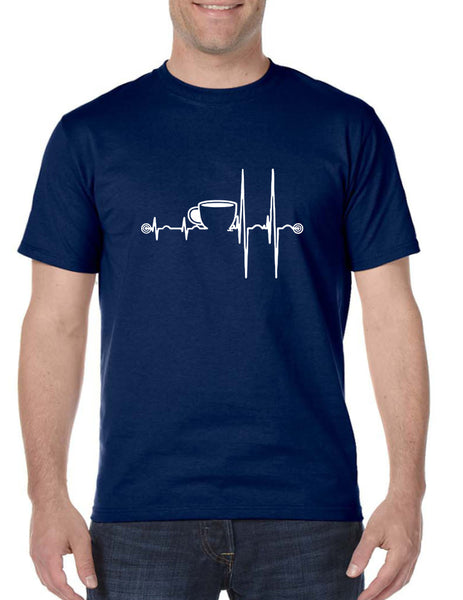 Men's T Shirt Coffee Heartbeat Coffee Lovers Funny Shirt