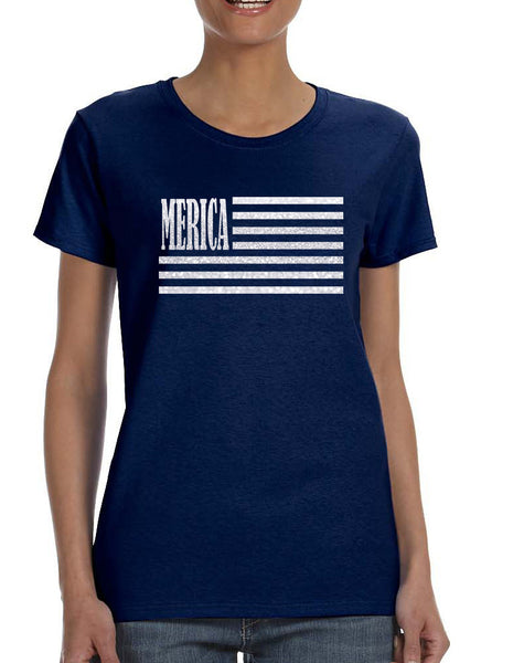 Women's T Shirt Merica Glitter White Flag 4th Of July Tee