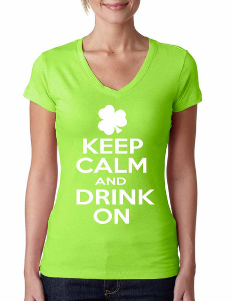 Keep calm and drink on Women V Shirt saint patricks day - ALLNTRENDSHOP - 2