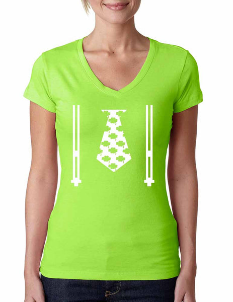 Irish shamrock tie women Sporty V Shirt saint patricks day - ALLNTRENDSHOP - 1
