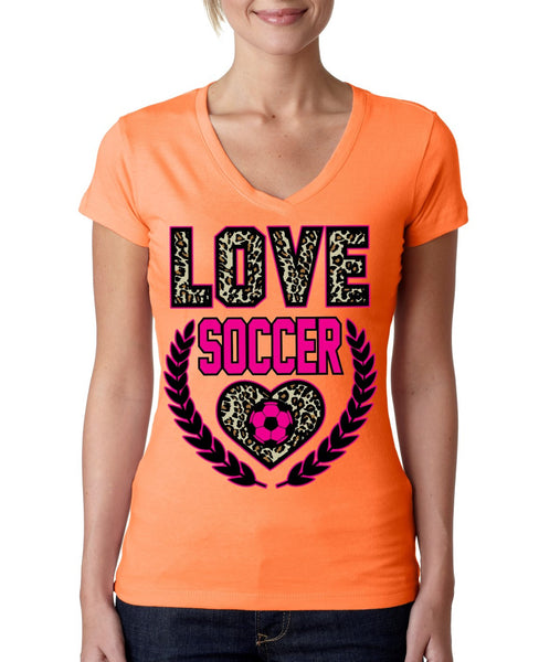 Love Soccer Leopard Womens Sporty V - ALLNTRENDSHOP - 2