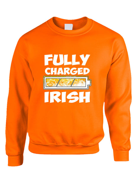 Adult Sweatshirt Fully Charged Irish St Patrick's Day Top - ALLNTRENDSHOP - 3