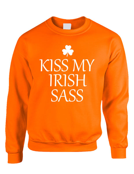 Adult Sweatshirt Kiss My Irish Sass St Patrick's Day Top