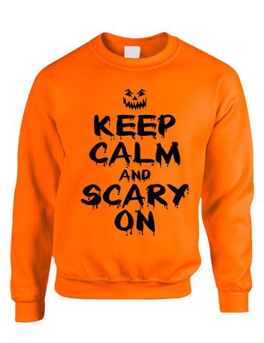 Adult Crewneck Keep Calm And Scary On Halloween Costume Idea - ALLNTRENDSHOP