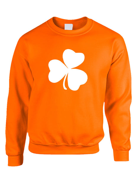 Adult Sweatshirt White Shamrock Graphic St Patrick's Day Cool - ALLNTRENDSHOP - 3