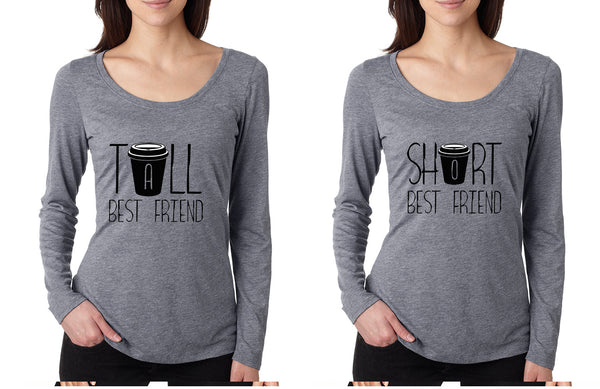 Set Of 2 Women's Shirts Tall Short Best Friend Coffee Matching