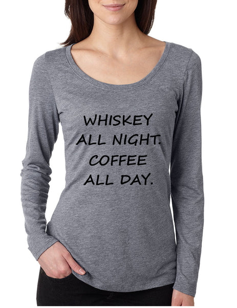 Women's Shirt Whiskey All Night Coffee All Day Party Humor Tee - ALLNTRENDSHOP - 3