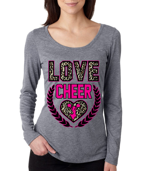 Love Cheer Leopard Womens Long Sleeve Shirt - ALLNTRENDSHOP - 3
