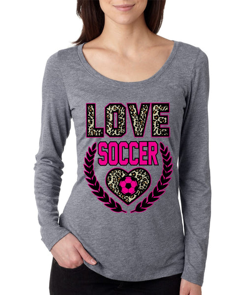 Love SoccerLeopard Womens Long Sleeve Shirt - ALLNTRENDSHOP - 2
