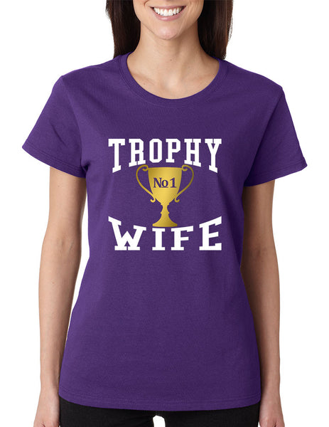 Women's T Shirt Trophy Wife Cool Xmas Love Family Holiday Gift - ALLNTRENDSHOP - 5