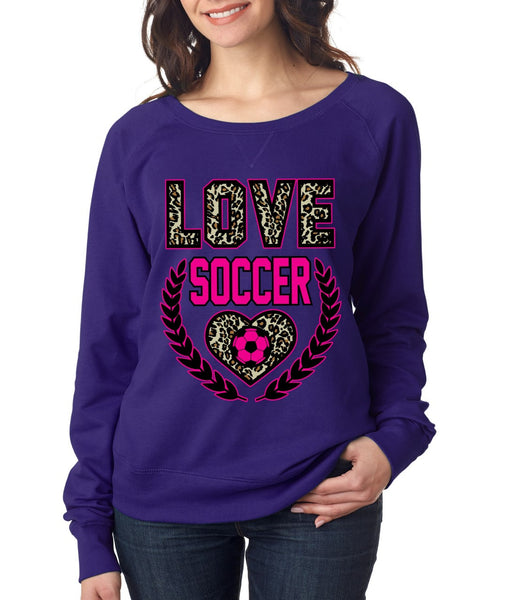 Love Soccer Leopard Womens long sleeve Pullover - ALLNTRENDSHOP - 1