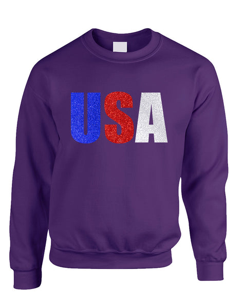 Adult Sweatshirt USA Glitter Flag Colors 4th Of July America
