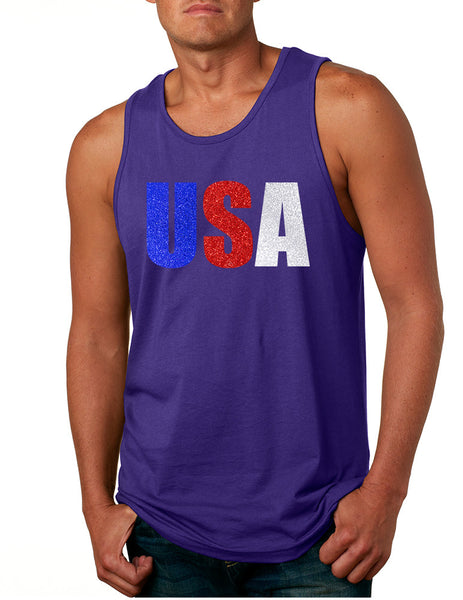 Men's Tank Top USA Glitter Flag Colors Cool 4th Of July Top