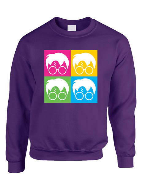 Adult Crewneck 4 Faces Harry Glasses Scar Cool Popular Top - ALLNTRENDSHOP - 5