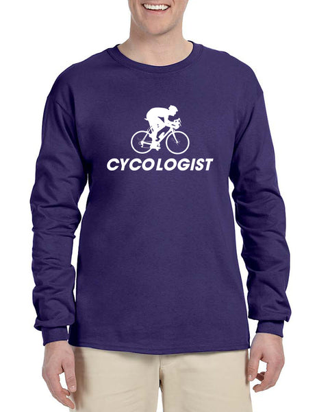 Men's Long Sleeve Cycologist Cool Cycling Funny Sport Tee