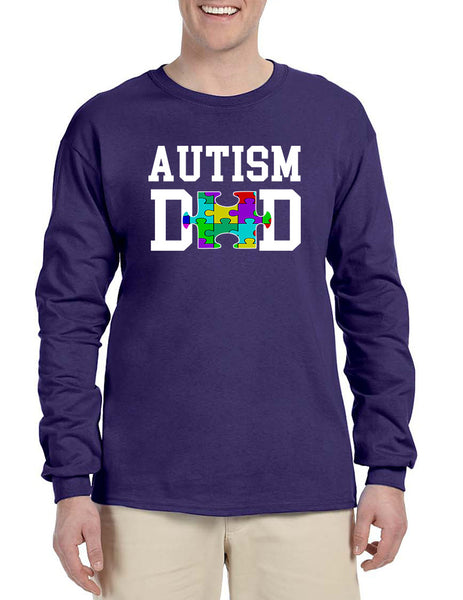 Men's Long Sleeve Autism Dad Autistic Awareness Shirt
