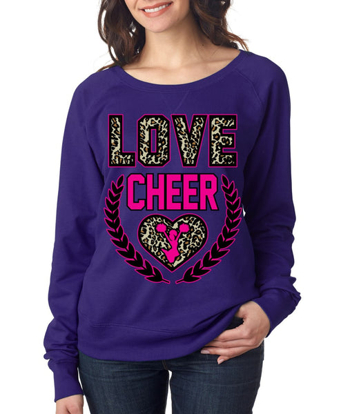 Love Cheer Leopard Womens long sleeve Pullover - ALLNTRENDSHOP - 4