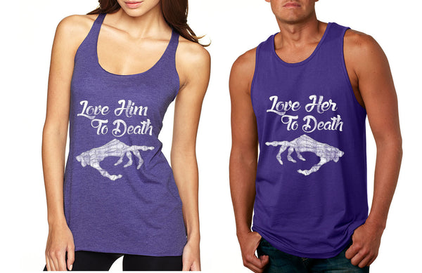 Love her Love him to death Couple Tanktops Valentines day - ALLNTRENDSHOP - 2