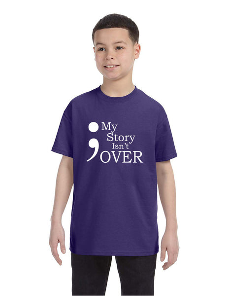 Kids Youth T Shirt My Story Isn't Over Semicolon Tshirt