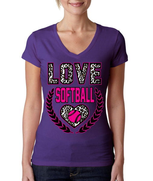 Love Softball Leopard Womens Sporty V - ALLNTRENDSHOP - 1