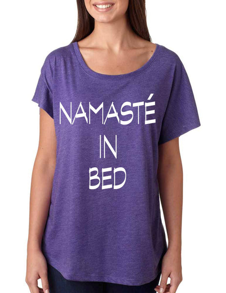 Namaste in bed  women's triblend dolman shirt - ALLNTRENDSHOP - 2