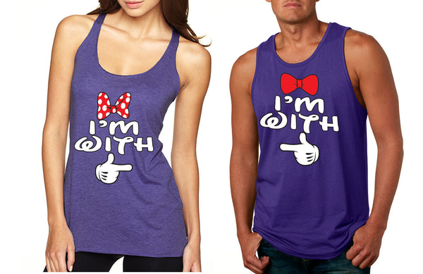 Im with him Im with her couples tanktops Valentines day - ALLNTRENDSHOP - 2
