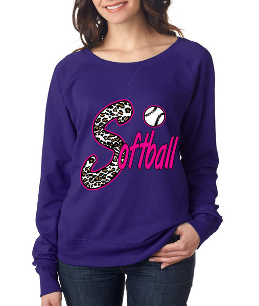 Softball White Leopard cheetah women`s long sleeve Pullover - ALLNTRENDSHOP - 3