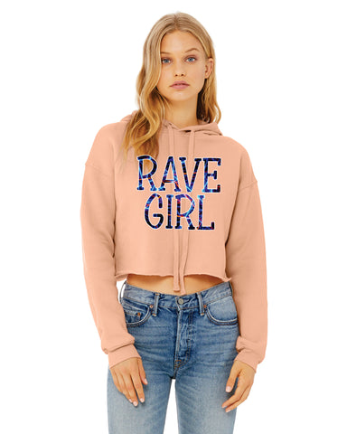 Women's Cropped Fleece Hoodie Rave Girl Party Lover Cool Trendy Gift