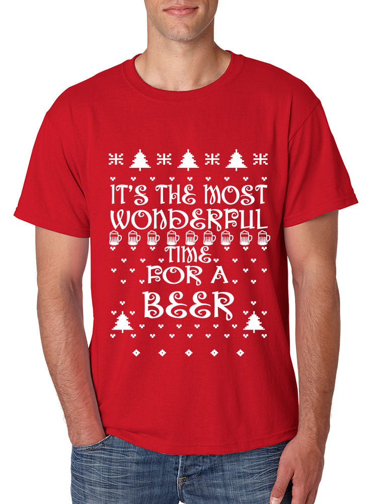 Men's T Shirt It's Most Wonderful Time for Beer Ugly Sweater Xmas - ALLNTRENDSHOP - 1