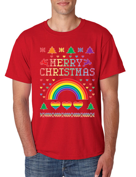 Men's T Shirt Gay Pride Love Merry Christmas Ugly Sweater Gift - ALLNTRENDSHOP - 2