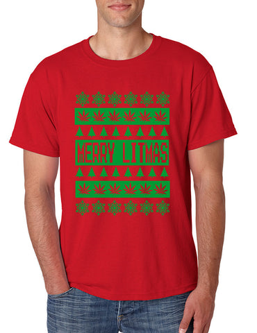 Merry Litmas Green mens T-shirt - ALLNTRENDSHOP - 1